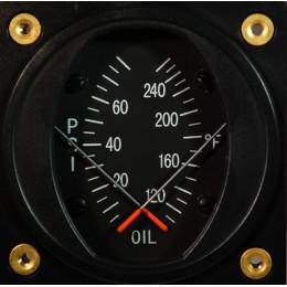 """Instrument Température et Pression d'huile SWIFT 2-1/4"""" 100-260F 80PSI"""