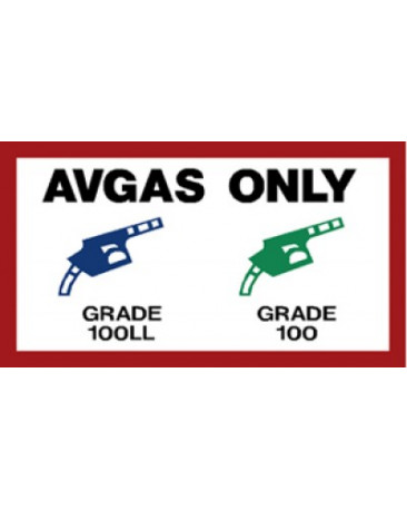 AVGAS ONLY PLACARD FP60